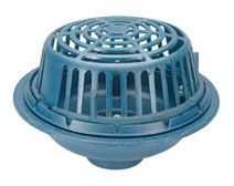 """4"""" Dura Coated Cast Iron Roof Drain - 12-1/2"""" Top, No Hub, Round Top"""
