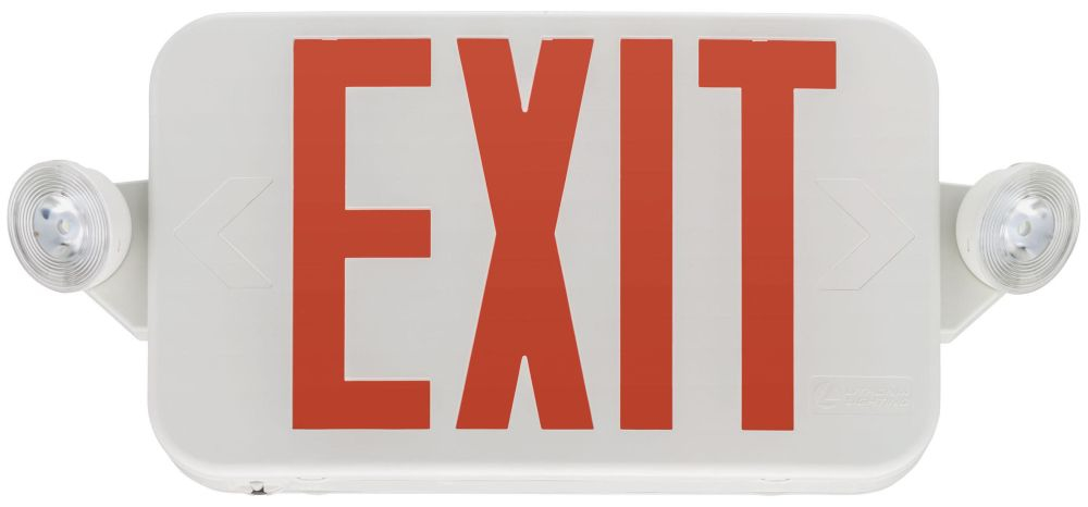 LIT ECC-R LIT LED EXIT COMBO EMERGENCY W/ 2 HEADS RED LETTERS WHITE *263X2H