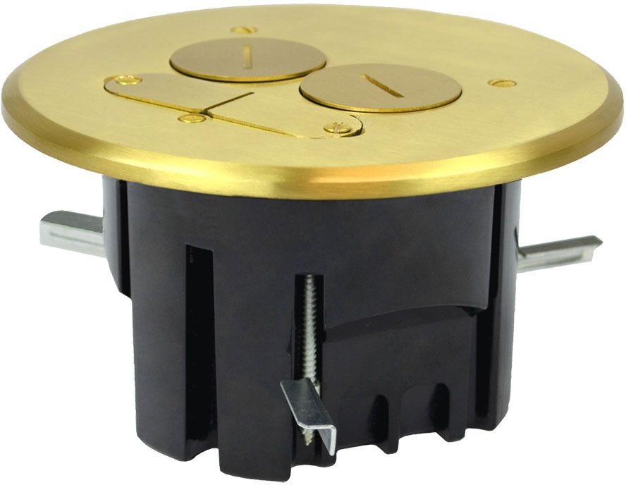 ALM FB-4 ALLIED MOULDED ROUND FLOOR BOX BRASS COVER DUPLEX W/ 2 KEYSTONE OPENINGS