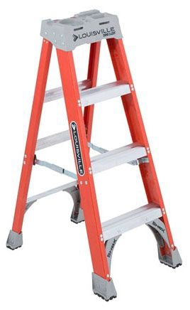 LOU FS1504 4ft F-GLASS Step Ladder TYPE 1A 300LB Rated