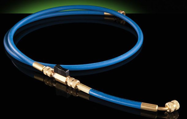 """Hilmor 1/4""""/3/8"""" x 70-1/2"""" Refrigeration Hose with Ball Valve Adapter, Straight by Straight, Red, Blue Yellow, Black, 800 PSI"""
