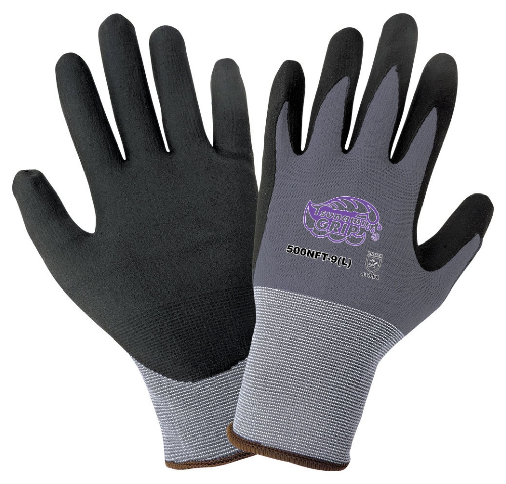 Gloves-Tsunami-Nitrile Coated Black Lg - Gloves