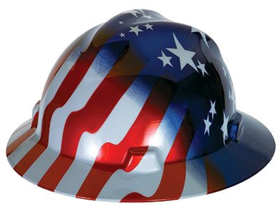 Hard Hat-Full Brim US Flag Type 1 - Head, Eye & Face