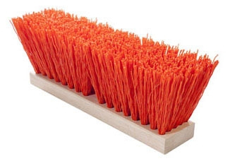 Street Broom-16in OSHA Orange Plastic - Concrete Tools