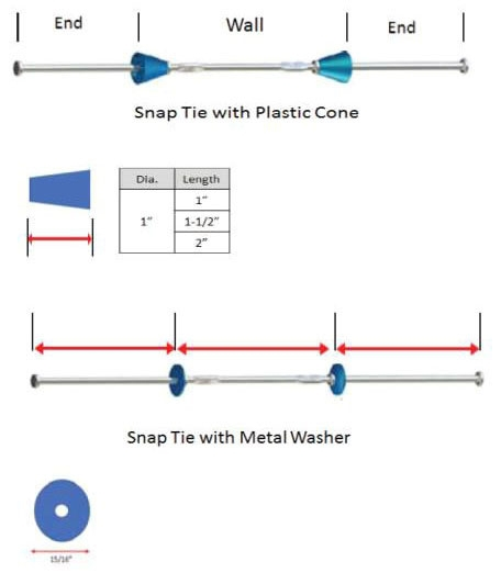 Long End Snap Tie with Cone - Stick Built Forms