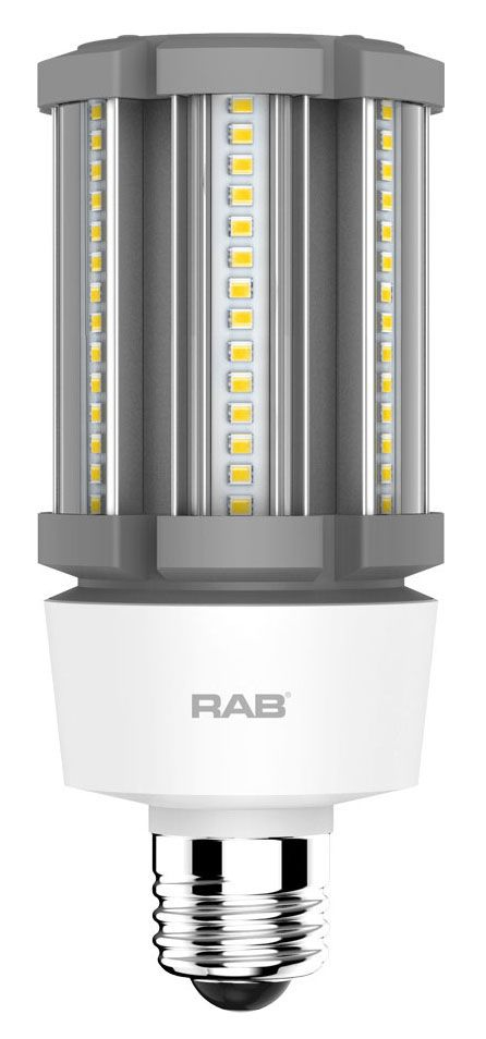 RAB HID-18-E26-830-BYP-PT RAB LED 3000K 2450 LUMEN MED BASE 100-277V LAMP (REPLACES 70W HID)