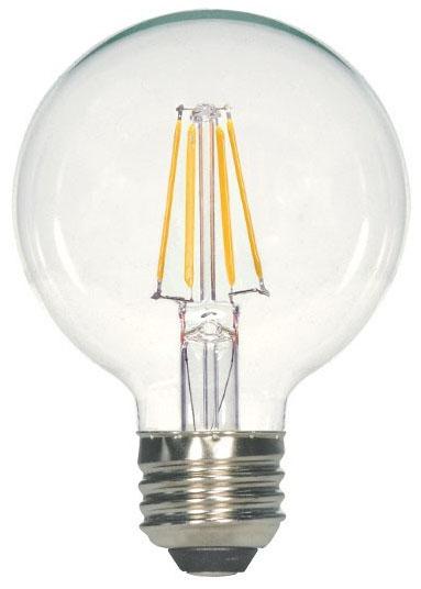 sat S8849 SAT 4.5G25/CL/LED/E26/40K/120V 4.5W 4000K 450 LUMEN G25 MED BASE LED LAMP