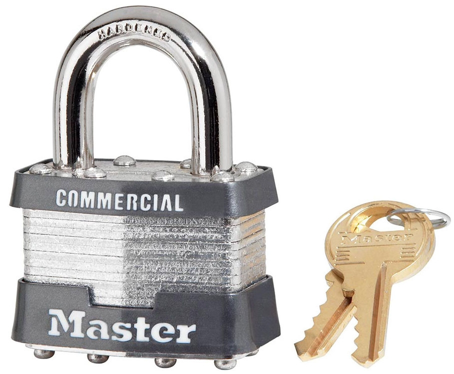 1-3/4in (44mm) Wide Laminated Steel Pin Tumbler Padlock, Keyed Alike - All Trade