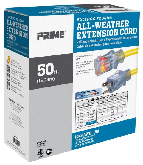 Extension Cord -10/3 x 50ft Light End - Hoses & Accessories