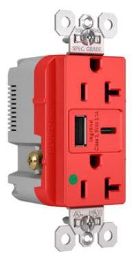 pas TR20HUSBAC-RED PAS 20A 125V DUP HG TR REC + USBA USBC 3.1A RED