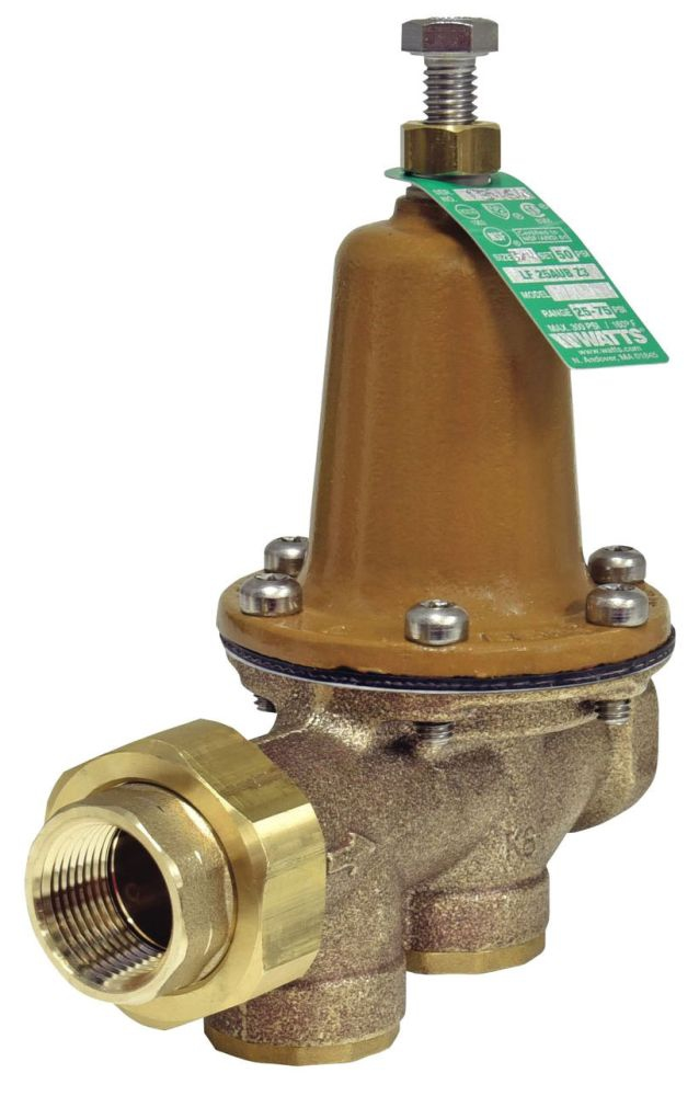 """Watts 3/4"""" x 3/4"""" Cast Copper Silicon Pressure Reducing Valve, Water, Diaphragm/Adjusting Screw Actuation, Union FPT x FPT, Lead-Free, 300 PSI"""