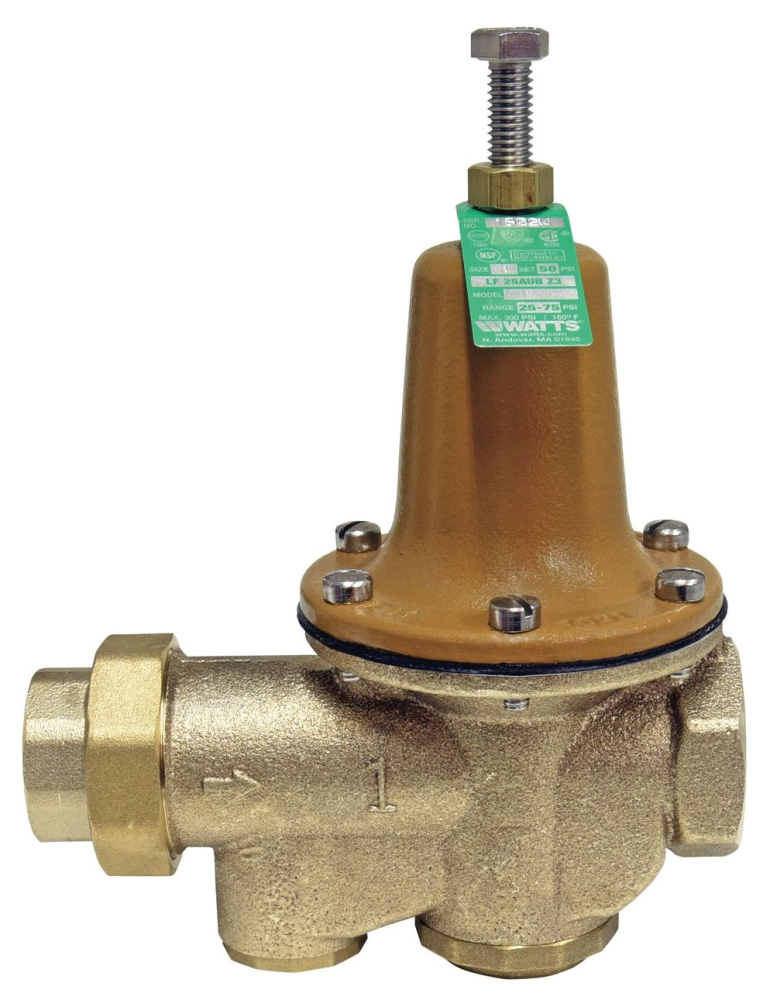 """Watts 1"""" x 1"""" Cast Copper Silicon Pressure Reducing Valve, Water, Diaphragm/Adjusting Screw Actuation, Union FPT x FPT, Lead-Free, 300 PSI"""