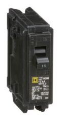 "Square D Homeline™ Miniature Circuit Breaker, 1"" x 2.98"" x 3.13"", 120/240 VAC, 15 A, Plug-In, 1-Pole, Clamp Terminal, Standard"