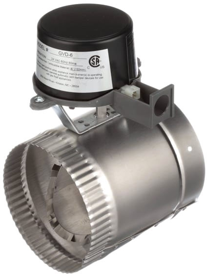 """Field Controls Gas Vent Damper, 6-1/16"""" x 9-7/8"""", 5"""" Pipe, 18 Gauge Stainless Steel, 3 W at 24 VAC Opening/Closing, Automatic"""