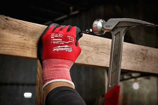 Milwaukee Tool Work Gloves (1 Pair per Pack), X-Large, Sandy Grip, Nitrile Dipped Nylon/Lycra, Cut Level-1