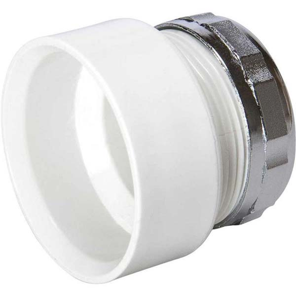 "1-1/2"" x 1-1/4"" Hub x Slip PVC-DWV Reducing Female Trap Adapter W/Chrome Plated Nut"