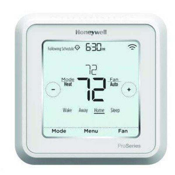 20 to 30 VAC, 0.02 to 1 A Heating/Cooling, 0.02 to 0.5 A Fan, 6.89 Sq Inch Display, Square, Hardwired Power, Auto/Manual, 7/5-1-1/5-2/1 Day Programmable, 3-Heat/2-Cool Heat Pump, 2-Heat/2-Cool Conventional, Thermostat