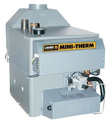 """LAARS Mini-Therm® Residential Gas-Fired Boiler, 1-1/4"""" NPT Supply/Return, 115 VAC 60 Hz 1-Phase, 50 MBH, 85% AFUE, 30 PSI, Lead-Free, Intermittent Spark, Natural, Hot Water"""