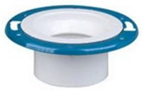 "Closet Flange with Metal Ring, 4"" x 3"" Hub, Epoxy Coated PVC-DWV, Adjustable"