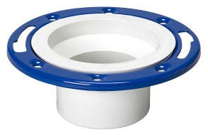 "Closet Flange with Metal Ring, 4"" x 3"" Spigot, Epoxy Coated PVC-DWV, Adjustable"