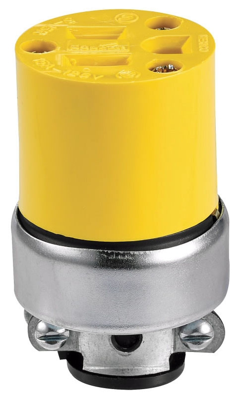 Eaton Wiring Devices Straight Blade Connector, 125 VAC, 15 A, NEMA 5-15R, 2-Pole, 3-Wire, Grounding, Yellow, Vinyl, Heavy Duty
