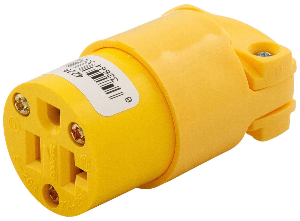 Eaton Wiring Devices Straight Blade Connector, 125 VAC, 20 A, NEMA 5-20R, 2-Pole, 3-Wire, Grounding, Yellow, Thermoplastic, Heavy Duty