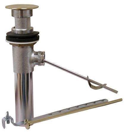 "Jones Stephens Bathroom Sink Drain Assembly with Overflow, 1-1/4"" Tubular, PVD Polished Brass, 17 Gauge Metal, Pop-Up"