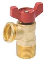 "ProLine QuarterMaster® 1/2"" x 3/4"" Brass Boiler Drain Valve, 1/4 Turn T-Handle, MPT/Soldered x MHT, 125 PSI"