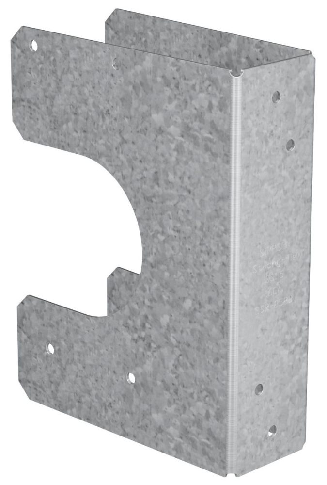 "Simpson Strong-Tie Stud Shoe for Pipe, 3-1/4"" x 1-9/16"" x 6"", 16 Gauge, Galvanized, Steel"