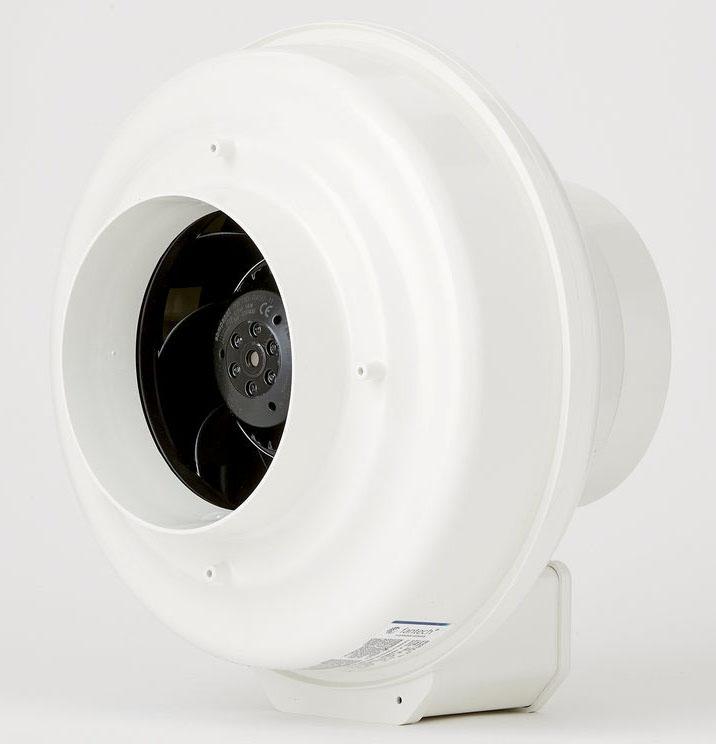 "Fantech Ventilation Radon Fan, 11-1/2"" x 9-1/4"", 120 VAC 60 Hz, 1-Phase, 1.2 A, 2782 RPM Speed, 141 W, 377 CFM Air Flow, In-Line"