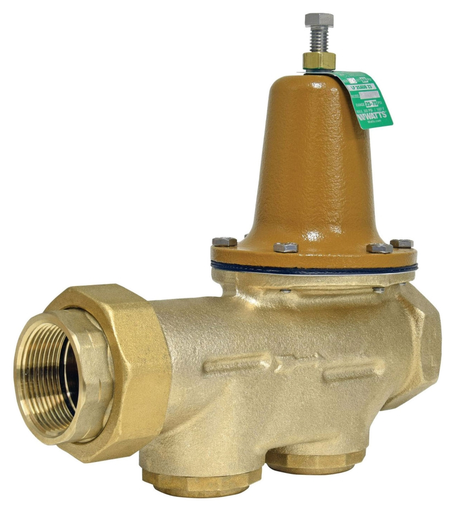 """Watts 1-1/2"""" x 1-1/2"""" Cast Copper Silicon Pressure Reducing Valve, Water, Diaphragm/Adjusting Screw Actuation, Union FPT x FPT, Lead-Free, 300 PSI"""