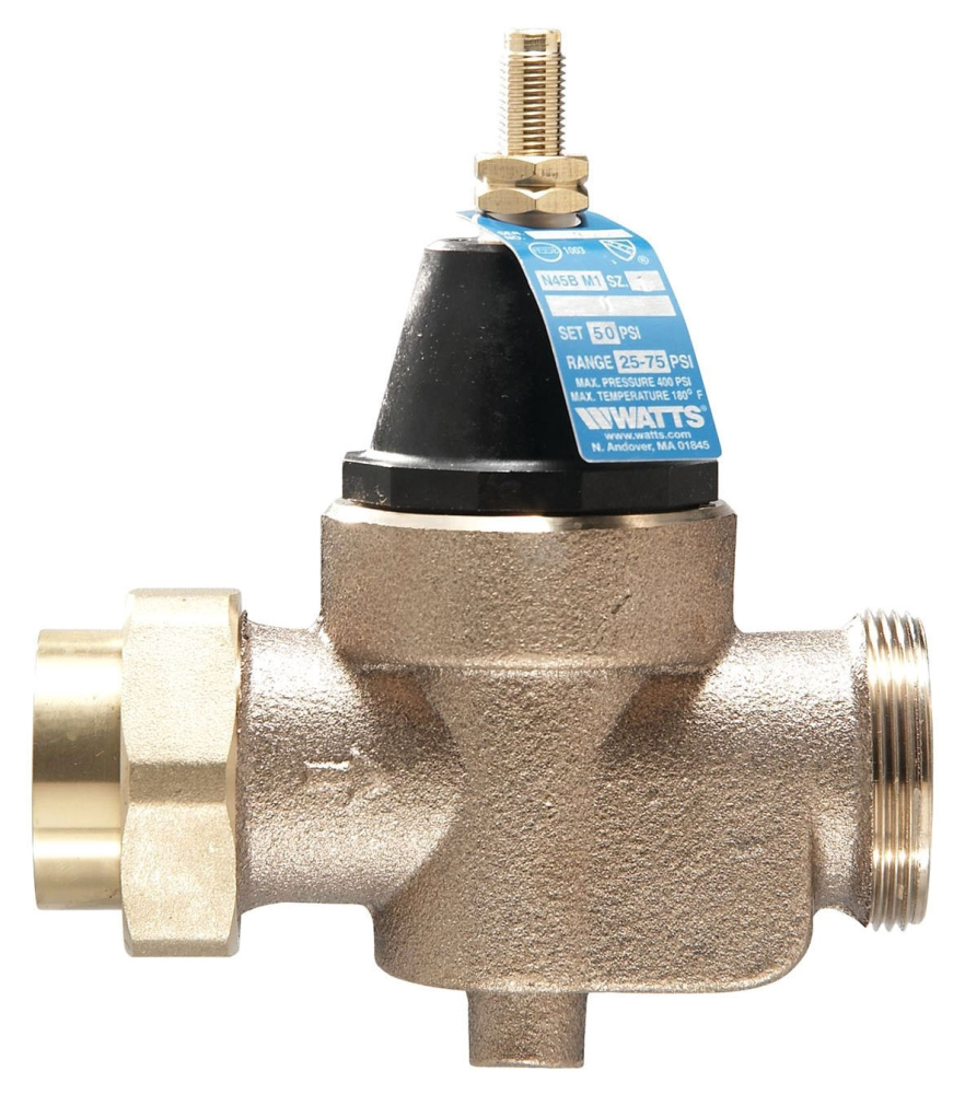 """Watts 1"""" x 1"""" Cast Copper Silicon Pressure Reducing Valve, Water, Diaphragm Actuation, Union FPT x FPT, Lead-Free, 400 PSI"""