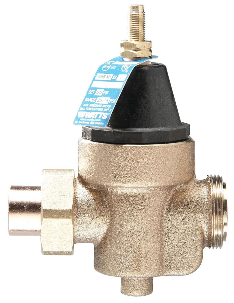 """Watts 1"""" x 1"""" Cast Copper Silicon Pressure Reducing Valve, Water, Diaphragm Actuation, Union Soldered x FPT, Lead-Free, 400 PSI"""