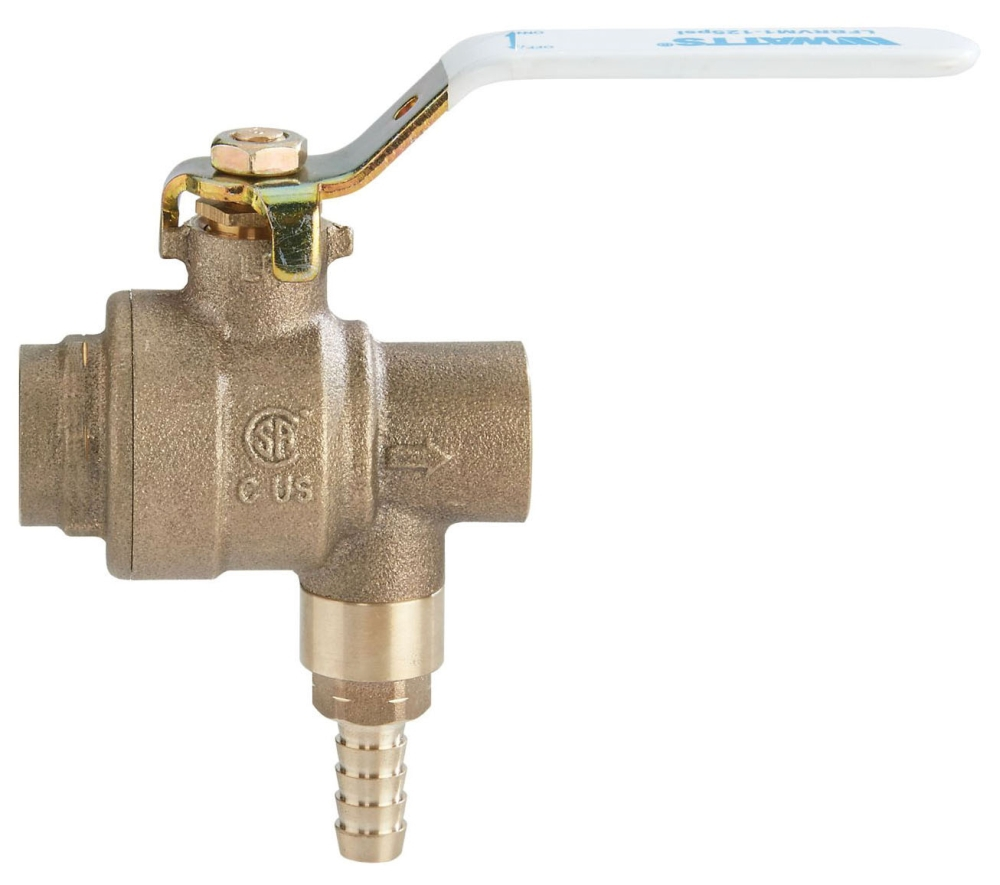 "Watts 3/4"" x 3/4"" Brass/Copper Combination Ball Valve and Relief Valve, 2-Piece, Full Port, Lever Handle, Soldered x Soldered, Chrome Plated, Lead-Free, 400 PSI"