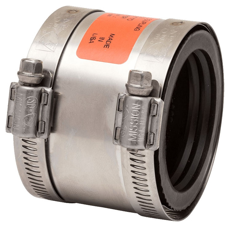 """Mission Rubber Band-Seal® 1-1/2"""" x 1-1/2"""" or 1-1/4"""" Stainless Steel Specialty Coupling, Shielded, Transition, Cast Iron/Plastic/Steel to Copper/Plastic/Steel"""
