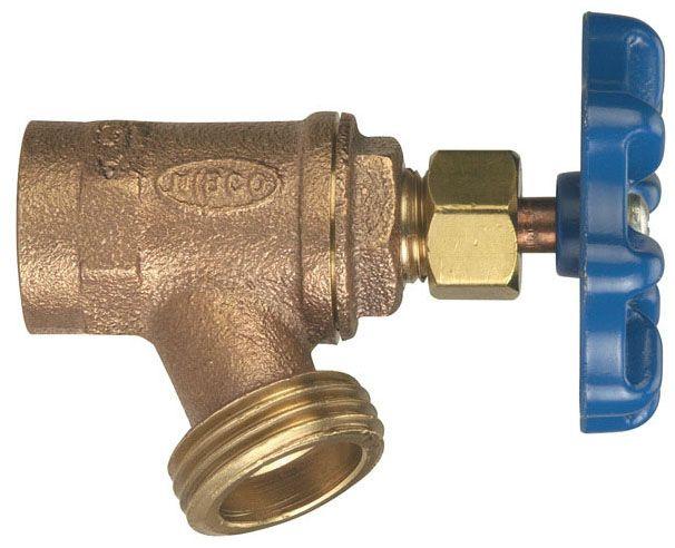 "Nibco 3/4"" x 3/4"" Copper Drain Valve, Multi-Turn, Handwheel, Boiler, FPT x MHT, 125 PSI CWP"