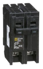 "Square D Homeline™ Miniature Circuit Breaker, 1"" x 2.98"" x 3.13"", 120/240 VAC, 100 A, Plug-In, 1-Pole, Box Lug Terminal, Standard, Common Trip"