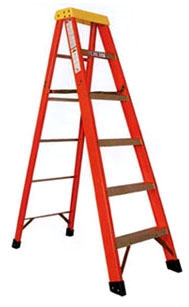"Sunset Ladder & Scaffold Fiberglass Step Ladder, 6' H, 3"" W Rung, 20"" W Base, 37"" Base Spread, 300 Lb Load, Fiberglass, Single Entry"