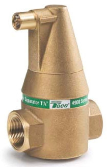 "Taco 4900 Series® Air Separator, 1"" x 1"", C x C, Brass, 150 PSI, 25 to 240 Deg F, Bidirectional Flow"