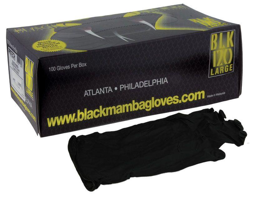 Gloves, Lge. Black Mamba 100ct per box Nitrex polymer,