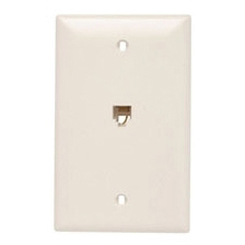 (P&S) TPTE1LA LIGHT ALMOND SINGLE GANG OPENING MODULAT FOUR CONDUCTOR TELEPHONE JACK WITH WALL PLATE