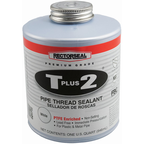 Pipe Thread Sealant - T Plus 2, White, Paste, 1 Quart Can