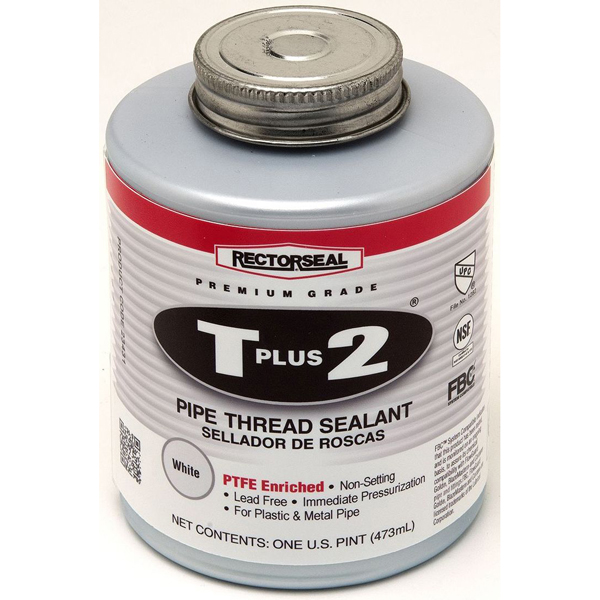 Pipe Thread Sealant - T Plus 2, White, Paste, 1 Pint Can