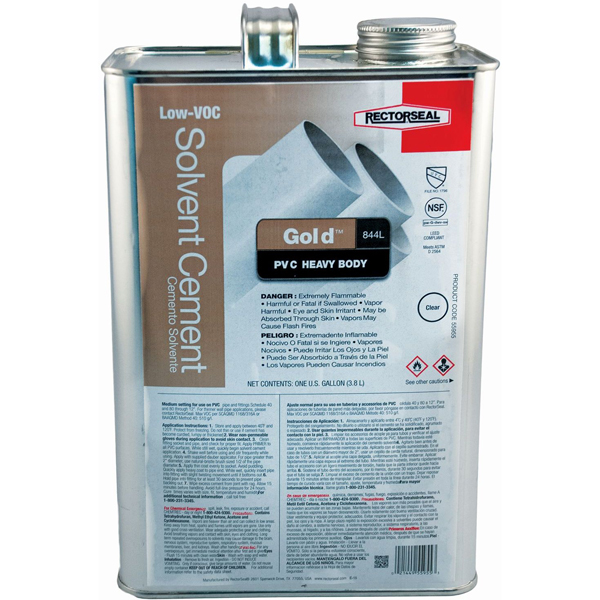 PVC Solvent Cement - Gold / 844L, Heavy Clear, 1 Gallon Can