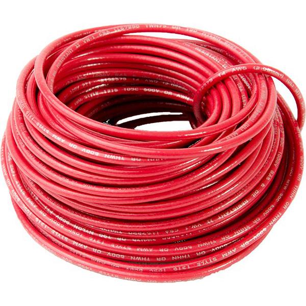 14 AWG 48' Stranded THHN Hook-Up Wire - DEVCO, Nylon Jacket, Red PVC Insulation, 600 V