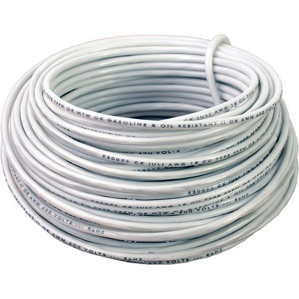 12 AWG 48' Stranded THHN Hook-Up Wire - DEVCO, Nylon Jacket, White PVC Insulation, 600 V