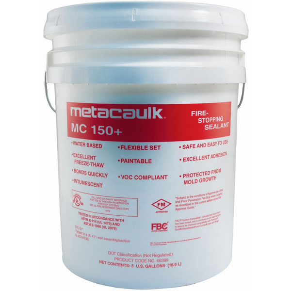 Firestop Sealant - Metacaulk 150+, Red, Paste, 5 Gallon Bucket