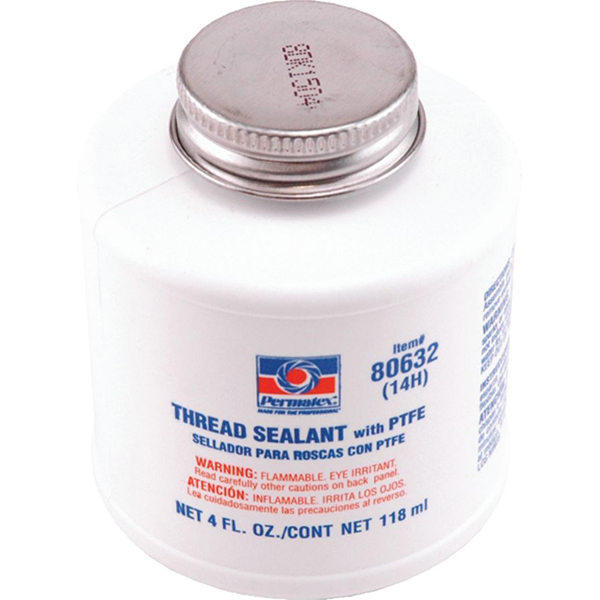 Thread Sealant with PTFE - Permatex, White, Paste, 1/4 Pint Brush Can