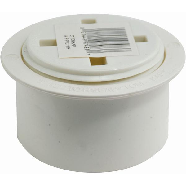"3"" Flush-Fit Cleanout Adapter and Plug - Tom-Kap, PVC"