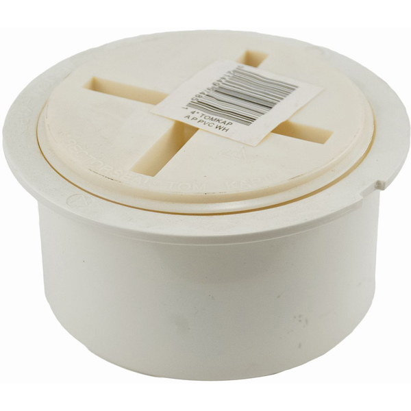 "4"" Flush-Fit Cleanout Adapter and Plug - Tom-Kap, PVC"